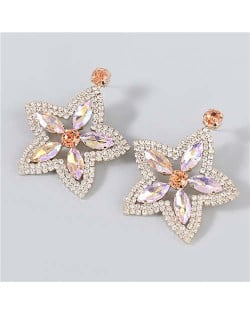 Boutique Fashion Hollow-out Pentagram Shape Rhinestone Super Shining Women Wholesale Earrings - Rose Gold