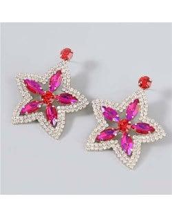 Boutique Fashion Hollow-out Pentagram Shape Rhinestone Super Shining Women Wholesale Earrings - Rose