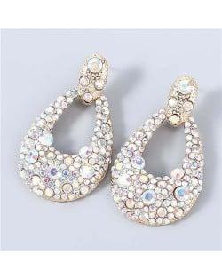 Bohemian Style Wholesale Jewelry Rhinestone Inlaid Geometric Waterdrop Women Statement Earrings - Luminous White