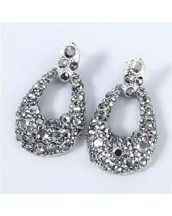 Bohemian Style Wholesale Jewelry Rhinestone Inlaid Geometric Waterdrop Women Statement Earrings - Gun Black