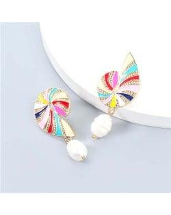 U.S. Vintage Wholesale Jewelry Conch Shape Artificial Pearl Colorful Oil-spot Glazed Women Earrings