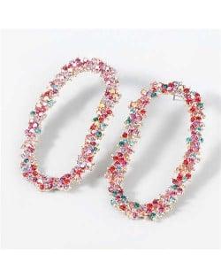 Shining Rhinestone Floral Hoop Design Fashion Women Wholesale Costume Earrings - Multicolor