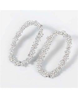 Shining Rhinestone Floral Hoop Design Fashion Women Wholesale Costume Earrings - Silver