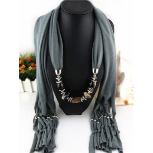 Fashionable Multiple Gems Pendants Exaggerating Scarf Necklace - Gray