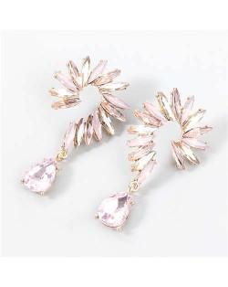 Rhinestone Embellished U.S. Vintage Floral Waterdrop Pendant Wholesale Women Alloy Earrings - Gold Pink