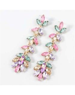 U.S. Fashion Rhinestone Inlaid Floral Design Long Tassel Women Dangle Wholesale Earrings - Multicolor