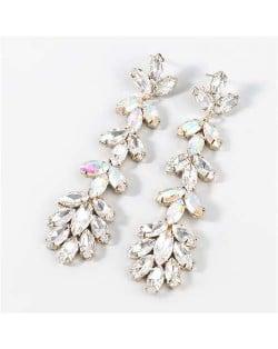 U.S. Fashion Rhinestone Inlaid Floral Design Long Tassel Women Dangle Wholesale Earrings - Luminous White