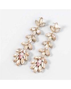 U.S. Fashion Rhinestone Inlaid Floral Design Long Tassel Women Dangle Wholesale Earrings - Golden