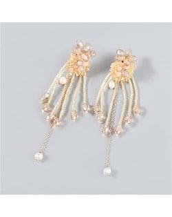 Rhinestone Inlaid Artificial Pearl Floral Tassel Elegant Boutique Design Women Wholesale Dangle Earrings - Brown