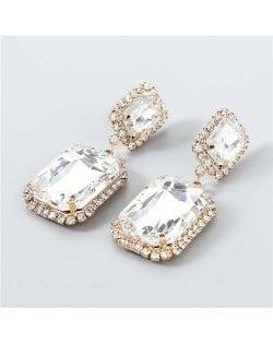 Creative Square Rhinestone U.S. Boutique Fashion Vintage Style Women Party Dangle Wholesale Earrings - White
