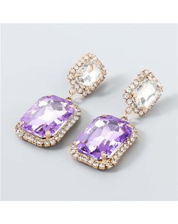 Creative Square Rhinestone U.S. Boutique Fashion Vintage Style Women Party Dangle Wholesale Earrings - Purple