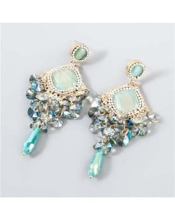 Rhinestone Rhombus Shape Shining Floral Design Korean Wholesale Jewelry Women Fashion Earrings - Green