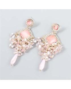 Rhinestone Rhombus Shape Shining Floral Design Korean Wholesale Jewelry Women Fashion Earrings - Pink