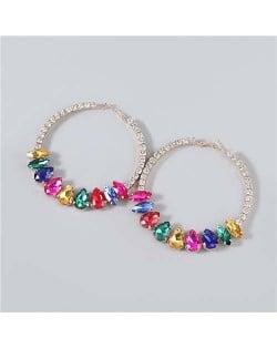 Super Shining Rhinestone Inlaid Hoop Design Banquet Fashion Women Costume Wholesale Earrings - Multicolor