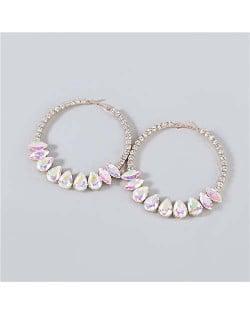 Super Shining Rhinestone Inlaid Hoop Design Banquet Fashion Women Costume Wholesale Earrings - Luminous White