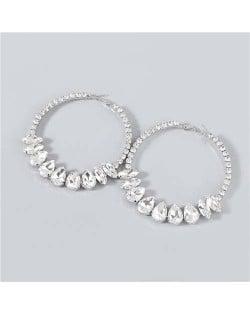 Super Shining Rhinestone Inlaid Hoop Design Banquet Fashion Women Costume Wholesale Earrings - Silver