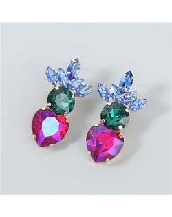 U.S.and European Heart Shape Rhinestone Inlaid Women Wholesale Fashion Costume Earrings - Multicolor