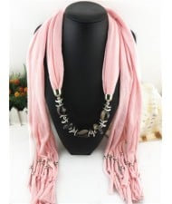 Fashionable Multiple Gems Pendants Exaggerating Scarf Necklace - Pink