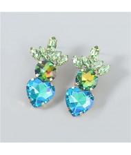U.S.and European Heart Shape Rhinestone Inlaid Women Wholesale Fashion Costume Earrings - Green