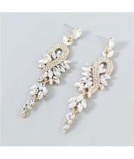 Rhinestone Inlaid Geometric Design U.S. Boutique Fashion Women Long Dangle Tassel Earrings - White