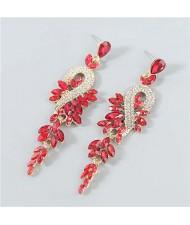 Rhinestone Inlaid Geometric Design U.S. Boutique Fashion Women Long Dangle Tassel Earrings - Red