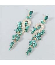 Rhinestone Inlaid Geometric Design U.S. Boutique Fashion Women Long Dangle Tassel Earrings - Green