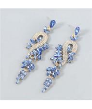 Rhinestone Inlaid Geometric Design U.S. Boutique Fashion Women Long Dangle Tassel Earrings - Blue