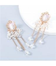 Korean Style Wholesale Jewelry Graceful Butterfly Embellished Floral Chain Tassel Women Alloy Earrings - White