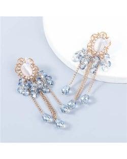 Korean Style Wholesale Jewelry Graceful Butterfly Embellished Floral Chain Tassel Women Alloy Earrings - Blue