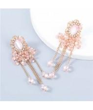 Korean Style Wholesale Jewelry Graceful Butterfly Embellished Floral Chain Tassel Women Alloy Earrings - Pink