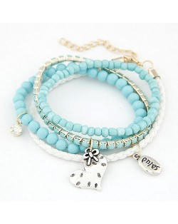 Four Layers Beads with Heart and Espanol Wish Plate Pendants Bracelet - Sky Blue