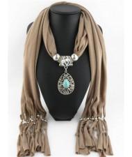 Trendy Metal Water Drop Pendant Scarf Necklace - Brown