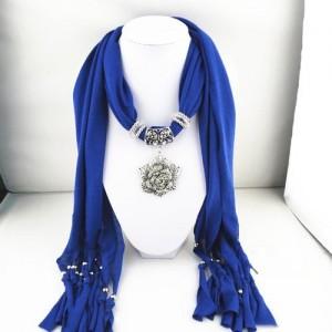 Silver Rose Pendant Scarf Necklace - Blue