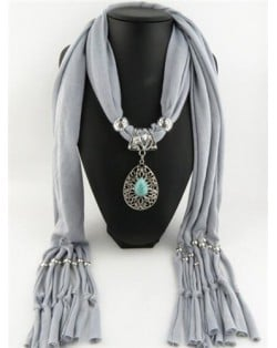 Silver Rose Pendant Scarf Necklace - Green