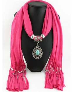 Silver Rose Pendant Scarf Necklace - Pink