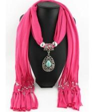 Trendy Metal Water Drop Pendant Scarf Necklace - Rose