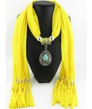 Trendy Metal Water Drop Pendant Scarf Necklace - Yellow