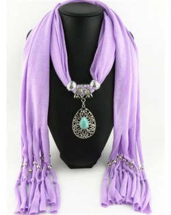 Silver Rose Pendant Scarf Necklace - Rose