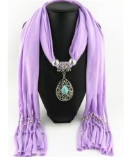 Trendy Metal Water Drop Pendant Scarf Necklace - Violet