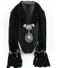 Trendy Metal Water Drop Pendant Scarf Necklace - Black
