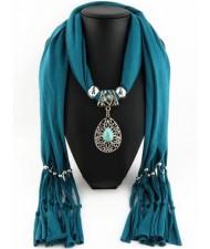 Trendy Metal Water Drop Pendant Scarf Necklace - Ink Green