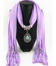 Trendy Metal Water Drop Pendant Scarf Necklace - Purple