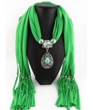 Trendy Metal Water Drop Pendant Scarf Necklace - Green