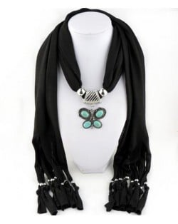Trendy Metal Butterfly Pendant Scarf Necklace - Rose