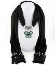 Trendy Metal Butterfly Pendant Scarf Necklace - Black