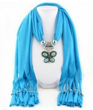 Trendy Metal Butterfly Pendant Scarf Necklace - Blue