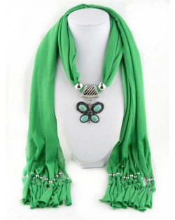Trendy Metal Butterfly Pendant Scarf Necklace - White