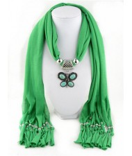 Trendy Metal Butterfly Pendant Scarf Necklace - Green