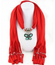 Trendy Metal Butterfly Pendant Scarf Necklace - Red