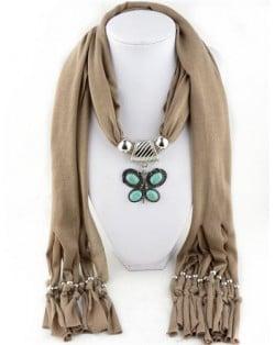Trendy Metal Butterfly Pendant Scarf Necklace - Purple